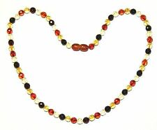Baltic amber adult necklace, round faceted beads multicolor 45 cm /17.72 inch