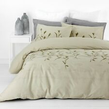 New In 2 Linen Hannah Sage QUEEN Size Quilt / Doona Cover Set 300TC Cotton