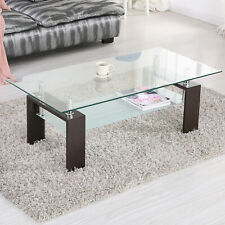Brown Wood Chrome Glass Coffee Table with Shelf Storage Living Room Furniture