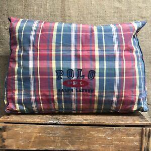 Ralph Lauren Plaid Wedge Bolster Lumbar Reading Pillow Embroidered Logo