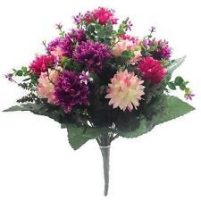 Quality  Artificial / Silk  Flowers Spiky Chrysanthemum Bush  Pink,Cerise,Purple