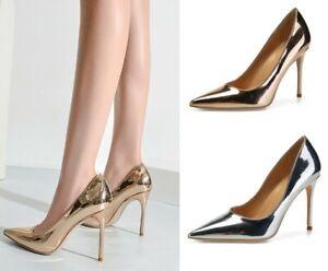 Metallic Pumps Men's High Heels Pointy Crossdresser Drag Queen Gold Large Shoes