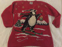 Heirloom Collectibles Ugly Christmas Sweater Sz M Medium Penguin