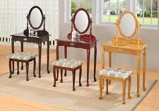 Queen Anne Style Vanity Makeup Table Oval Mirror w/ Padded Bench, Espresso