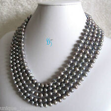"""Strand Necklace Off Round Jewelry Long 100"""" 6-8mm Gray Freshwater Pearl"""