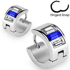 Pair Surgical Stainless Steel Hoop Earrings Emerarld Cut Blue/Clear CZ's (2327)