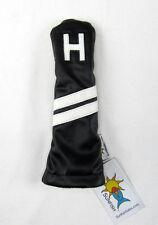 Sunfish leather hybrid utility golf headcover - black with white stripes - H !