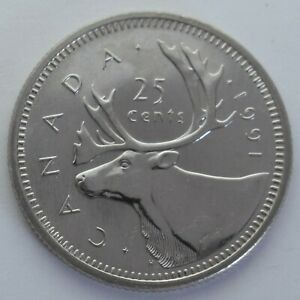 Canada 1991 Quarter (25 Cents) from a Mint Roll - Key Date