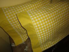 JCP PENNEY YELLOW & WHITE GINGHAM CHECK (2) STANDARD PILLOWCASES 20X29 MUSLIN