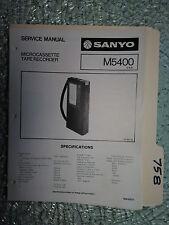 Sanyo m5400 service manual original repair book mini tape player recorder