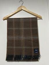 Drake's 100% Merino Wool Checked Scarf in Brown, Made in Scotland