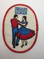 "Vtg Square Dancer Embroidered Patch Badge Dancing Retro 4.5"" Sew On"