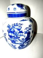 """BOMBAY CO BLUE AND WHITE MOTIF GINGER JAR DECORATIVE 91/2"""""""
