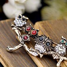 Vintage Inspired Owl Bird Animal Bronze Gold Sparkle Brooch Brooche Gift UK