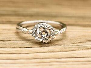 14K White Gold 4mm Round Diamonds Engagement Ring, Semi Mount, Dainty Ring
