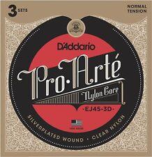 D'Addario EJ45-3D Pro Arte Classical Guitar Strings - Normal Tension, 3 Sets.