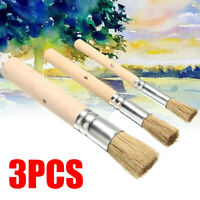 3Pc Wooden Stencil Brush Hog Bristle Brush Acrylic Watercolor Oil Painting Set