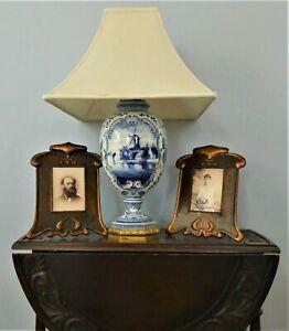 ⭐ Rewired Tall Antique Royal Bonn & Bronze Lamp E F Caldwell. Hubbell Sockets