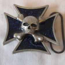 Monster Belt Buckle 2000 Mobtown Chicago -Iron Cross- Belt Buckle w/ Blue Inlay