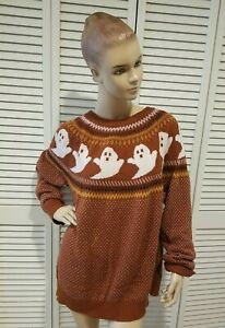 You Have Been Ghosted Sweater Fair Isle Sz XL Halloween Ghost