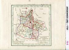 Dépt 08 - XVIII ème Carte des Ardennes Superbe Gravure Cuivre Aquarellée 1791