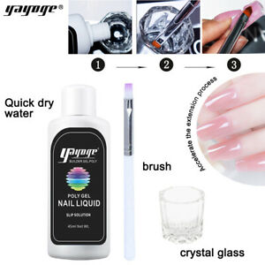 45ml Slip Solution Kit Set Clear Nail Liquid With Brush For Poly Nail Gel