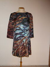 ALI RO BLACK BLUE BROWN 3/4 SLEEVE SILK ABOVE KNEE SHIFT DRESS SIZE 2