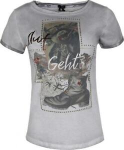 MarJo Trachten T-Shirt Josefine Trachtenshirt grau Damen Gr. XL