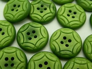 12 Pieces Vintage Holland 60's-70's New Old Stock Carved Green Casein Buttons