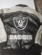 NFL OAKLAND RAIDERS PLEATHER JACKET SZ M-L looks bigger look at measurements