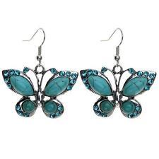 Women Fashion Tibetan Silver Butterfly Turquoise Rhinestone Hook Dangle Earrings