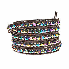 Mystique Rainbow Multicolor Crystal 5-Wrap Brown Leather Bracelet