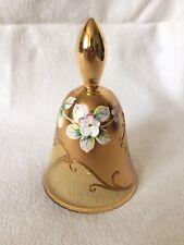 SPLENDIDA Boemia Vintage Vetro Campana Oro & 3D fiori dipinti a mano in scatola