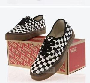 Mens&Womens Van AUT Checkerboard Black Brown Canvas Sneakers Trainers Skater UK