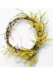 "Hearth & Hand Magnolia Crespedia Wreath Yellow Floral 16"" Spring Joanna Gaines"