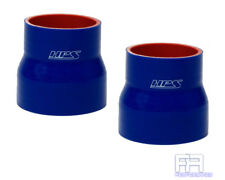 """2X HPS Coupler Tube Pipe 1"""" > 1-3/8"""" 25mm > 35mm Silicone Reducer Hose BLUE"""