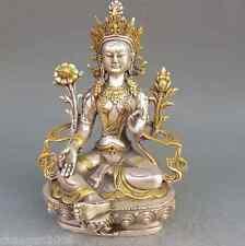 Tibet Silver Copper Tibetan Buddhism Gilt Statue -- White Tara Buddha