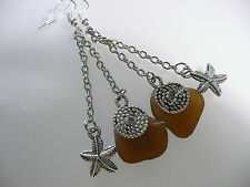 Vintage Art Deco Style Cornish Amber Sea Glass & Starfish Silver Long Earrings