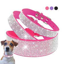 Collar de perro completo de Diamantes de Imitación Cuero PU Bling Collar de Perro XS S M L Xl ROSA Negro