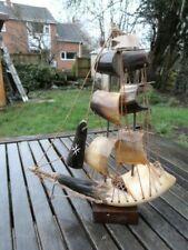 LOVELY VINTAGE FOLK ART BOVINE HORN MODEL OF SAILING SHIP.(C)