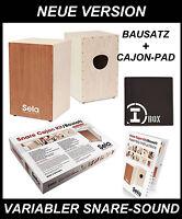 Sela Snare Cajon Bausatz - neue Ausführung - mit Cajon-Pad + Cajon Schule mit CD