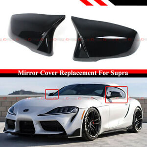 FOR 2020-21 TOYOTA SUPRA A90 M STYLE GLOSS BLK SIDE MIRROR COVER CAP REPLACEMENT