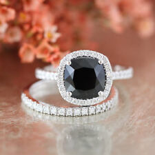 2 CT Cushion Cut AAA Black Diamond 2pcs Bridal Ring Set In 14K White Gold Over