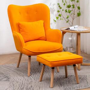 Velvet/Linen Fabric Wing Back Armchair Button Retro Chair Sofa Footstool Suite