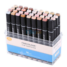 12/24/36 Color Finecolour Sketch Marker Pen Set Twin Tip Brush Board w/ Box IS
