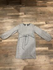Filly Flair Holiday Dress Metallic Waist Tie Long Big Puff Sleeve In Silver