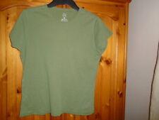 Olive green round neck cap sleeve waist length t-shirt, TU, size 14