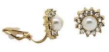 Stud CLIP ON Earrings Gold Plated Crystal Spike Pearl Womens Girls CZ Gatsby