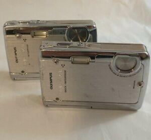 Lot 2 Olympus Stylus 720SW 7.1MP Ult. Slim HD Digital Camera Waterproof untested