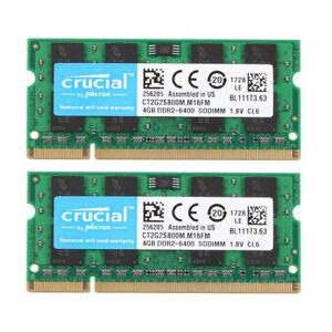 Hot Crucial 8GB 2X 4GB PC2-6400S DDR2-800 MHz 200pin RAM SO-DIMM Laptop Memory #